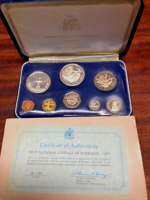 1973 First Coinage ofBarbados Silver (1.9 oz)ProofCoin Set Franklin Mint COA