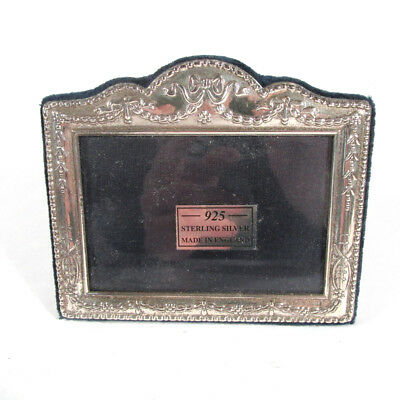 English Sterling Silver Desk Photo Picture Frame Bow & Swags