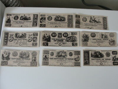 The Republic of Texas PAPER MONEY good condition. LOT OF 9