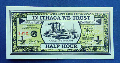 Ithaca Hours 1/2 Hour. Ithaca NY local currency. XF. Cayuga Steamboat, trolley