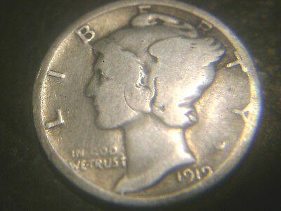 1919-D Mercury Dime In Very/good Condition.rare.add To Set Or Collection.