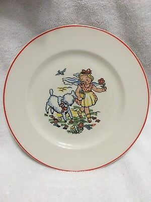 Vintage, Advertising Plate,Little girl with lamb,Jones Furniture Co.