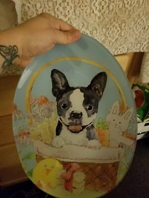 Boston terrier  dog Easter plate. Boston terrier on a plate it is glass it