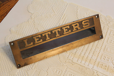 "SOLID BRASS ""LETTERS"" DOOR MAIL SLOT Big 10 1/2"" Embossed PASS-THRU Vintage"