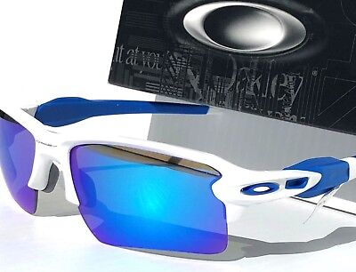 NEW* Oakley FLAK JACKET 2.0 WHITE w Blue Sapphire Lens Sunglass 9188-20