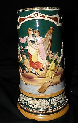Vintage Tall German High Relief Beer Stein Figural Scene of Musicians on Boat