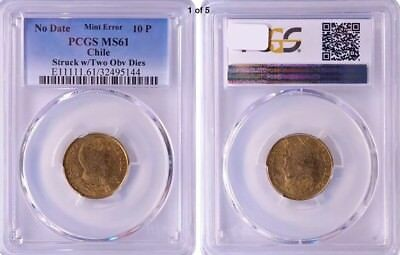 Chile 10P PCGS MS61 Mint Error Two-Headed Only 3 Exist! RicksCafeAmerican.com