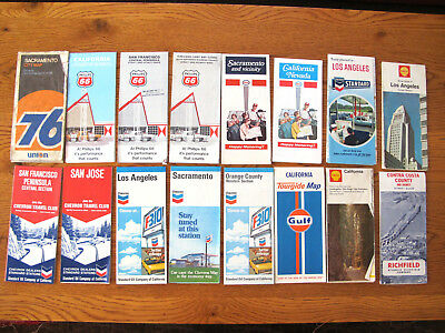 Lot 15 Vtg 60-70s California Maps - Shell - Chevron - Enco - Phillips 66 - Gulf
