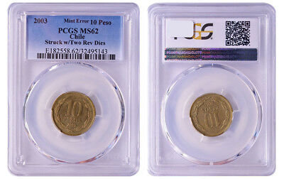 Chile 10P PCGS MS62 Mint Error Two-tailed only 15 exist! RicksCafeAmerican.com