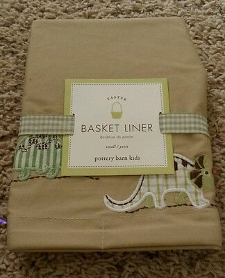 Pottery Barn Kids Basket Liner Small. DINOSAUR theme 100% Cotton Easter NEW!