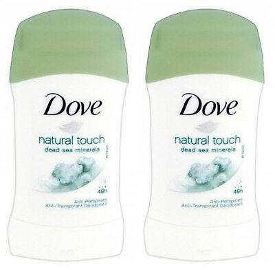 2 X Dove Natural Touch Anti - Perspirant Deodorant Stick 40Ml 48 Hr Protection