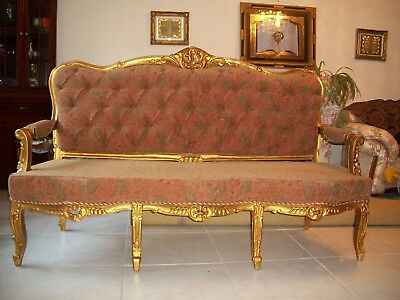 19 C Victorian Antique Louis XVI Style French Carved Gilt Wood Salon Settee Sofa