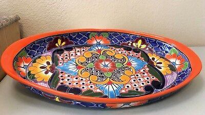 """X Large 17"""" Talavera Oval Platter Serving Dish Plate Tray Mexican Pottery"""