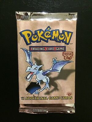 Pokemon Cards - 1x Fossil 1st Edition Booster Pack! Weighed! Aerodactyl Art