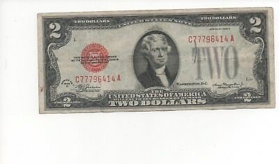 1928 Series $2 Two Dollar Red Seal Note Bill US Currency G - VG