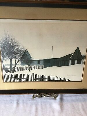 Jacques Deperthes lithograph Winter house scene
