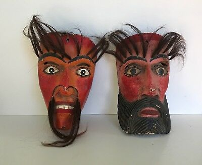 2 Mexican Folk Art Dance Masks, pair of mens faces, hand painted, with horsehair