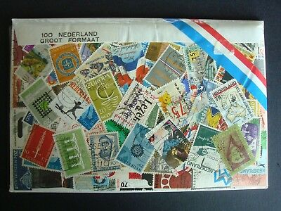 PACK OF 100 ASSORTED STAMPS FROM THE NETHERLANDS - NEW SEALED PACK FROM 1980s
