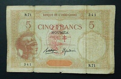 New Caledonia Noumea 5 Francs, 1926 - 1938. Bank IndoChina