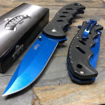 MASTER USA Spring Assisted Blue Coated Blade Black ABS Handle Pocket Knife