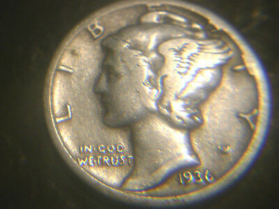 1936-S Mercury Dime In Very/fine Condition.rare.add To Set Or Collection.