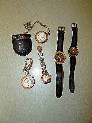 Vintage LOT of 5 vintage watches two pocket style/chain 1 with case that closes