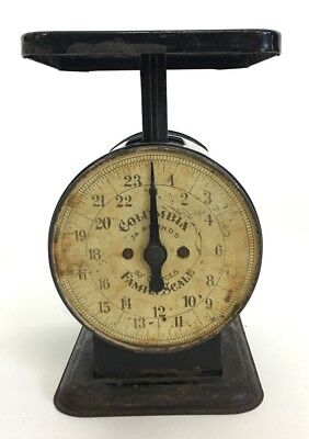 Antique Vintage Columbia Family Scale 24 Lbs Pounds By Ounces Works