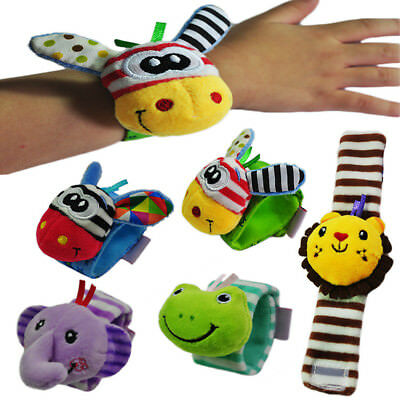 1pc Newborn Baby Infant Soft Giraff Elephant Toy Wrist Rattles Finders Wristband