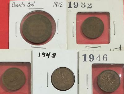 1912-1947 Canada CENTS Set of 5 Carded Coins!