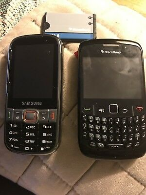 Lot Of Two Phones Blackberry Curve And Boist Mobile Samsung