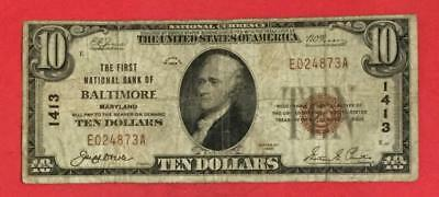 """1929 $10 Brown Seal National Currency """"BALTIMORE Maryland"""" VG/FINE! Currency"""