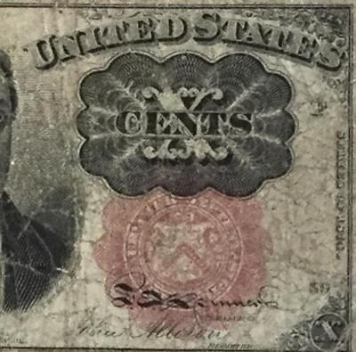 """1874 US Fractional Currency """"TEN CENTS"""" VG Old US Paper Currency"""