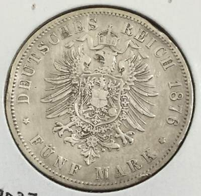 1876 Prussia SILVER 5 Mark! Old Germany Coin