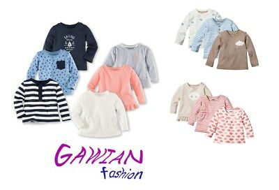 Baby Long Sleeved Top Pure Organic Cotton Girls Boys 0 2 4 6 8 10 12 24 Months