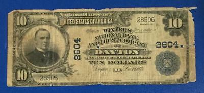"""1902 $10 Blue National """"LARGE SIZE"""" Currency """"DAYTON, OHIO""""! Old Currency"""