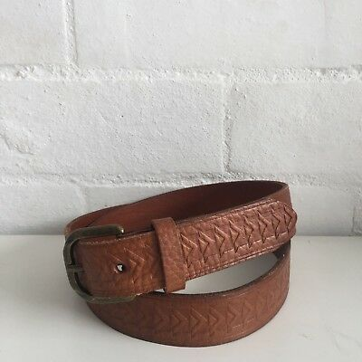 GENUINE LEATHER Belt Size Small BROWN Embossed UNISEX