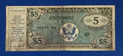 $5 Military Payment Certificate Series 472 MPC! Hard to Find! VG! High Catalog