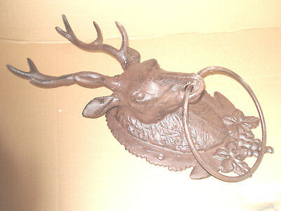 Cast Iron Rustic Finish Deer Stag Buck  Head Towel Rack With Antlers 16'' Tall