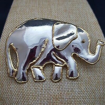Elephant brooch pendant trunk up large statement fashion pin good luck figural