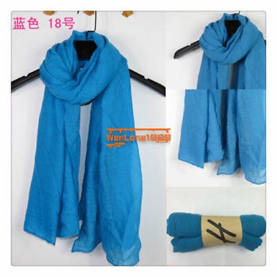 New Sky Blue Women Long Big Crinkle Voile Soft Scarf Wrap Shawl Stole