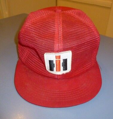 Vintage International Harvester Red Flat Bill Snapback Mesh Hat 1970's