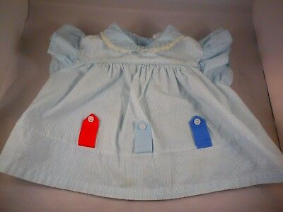Vintage 1960s Child Baby Doll Girl Clothing Dress Kippe Togs Blue 18 Mos.