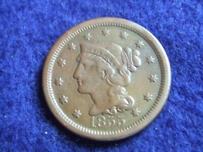 1855 Braided Hair Large Cent ~ Nice Details ~ Original Chocolate Brown Surfaces