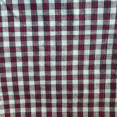 Primitive Homespun Christmas Cotton Fabric Red Green White Plaid Quilting craft