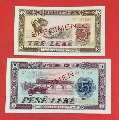1976 Albania Specimen Notes Set of 2! Old Paper Money Currency
