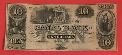 """1860 $10 US Choice Crisp AU Canal """"LARGE SIZE"""" Currency! Old US Paper Money"""