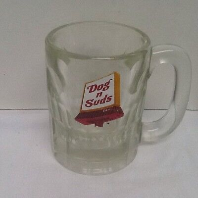 Vintage Dog N Suds Glass Mug Thumb Print Glass Short & Heavy & Thick