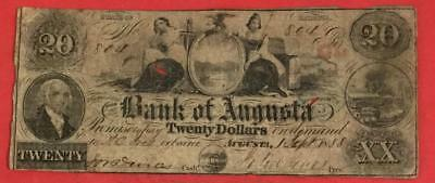 """1858 $20 US Augusta GEORGIA """"LARGE SIZE"""" Currency! Old US Paper Currency"""
