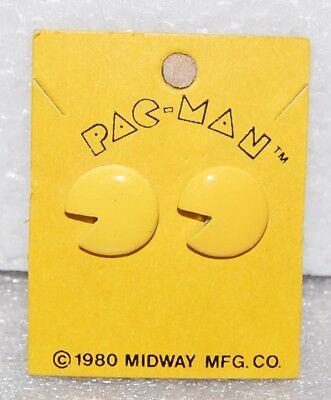 1980 PAC-MAN EARRINGS by Bally Midway Original MOC vintage old rare