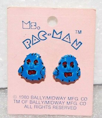 1980 PAC-MAN EARRINGS by Bally Midway Original MOC vintage - Blue Ghosts?